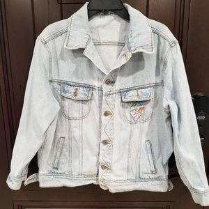Vintage Denim Jean Trucker Jacket Embroidered